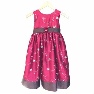 Marmellata Holiday Dress 6X Red Embroidered Tulle